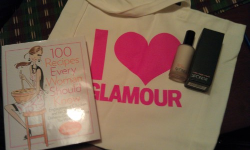 gift from glamour: book, tote, lotion