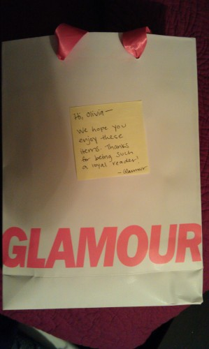 handwritten note from Glamour