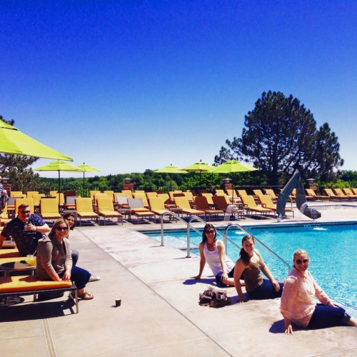 z2 employees enjoying some vitamin D out by the pool
